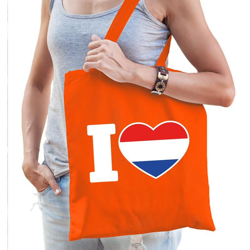 Oranje I love Holland tasje voor dames