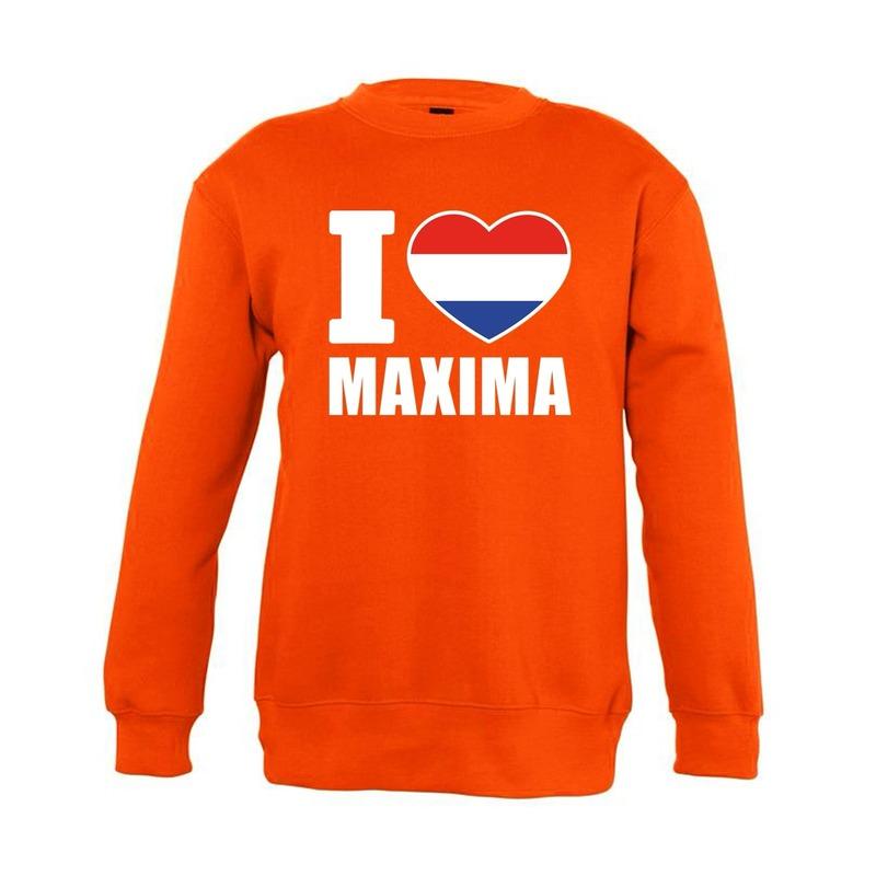 Oranje I love Maxima sweater kinderen