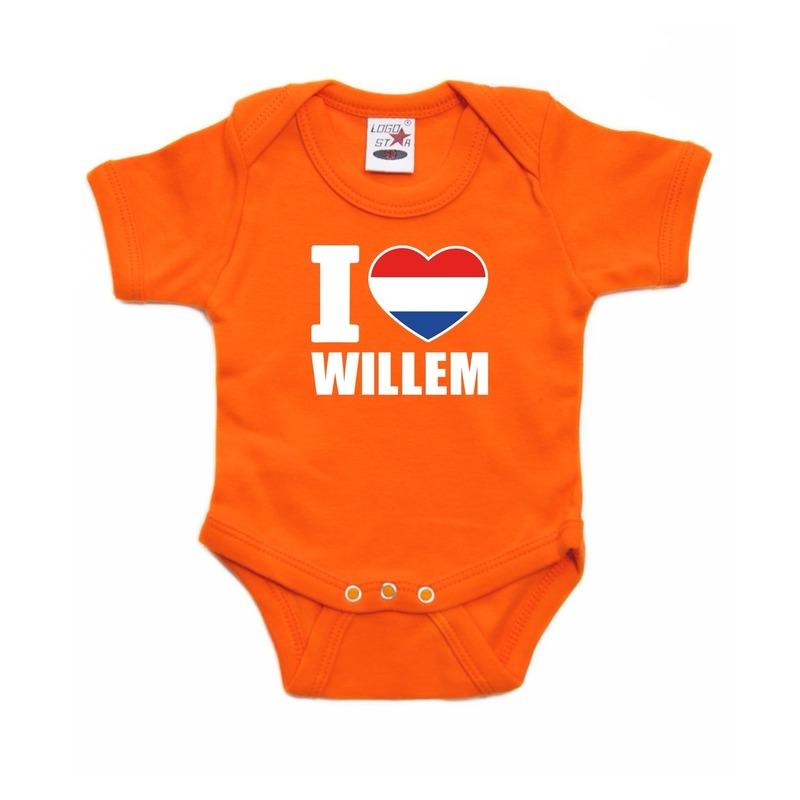 Oranje I love Willem rompertje baby