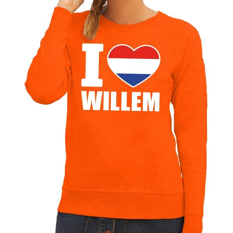 Oranje I love Willem sweater dames