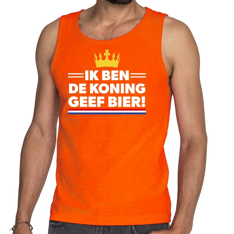 Oranje Ik ben de Koning geef bier tanktop - mouwloos shirt voor
