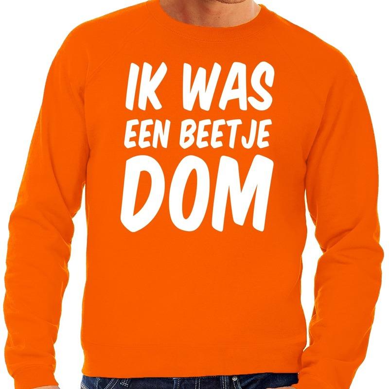 Oranje Ik was een beetje dom sweater voor heren