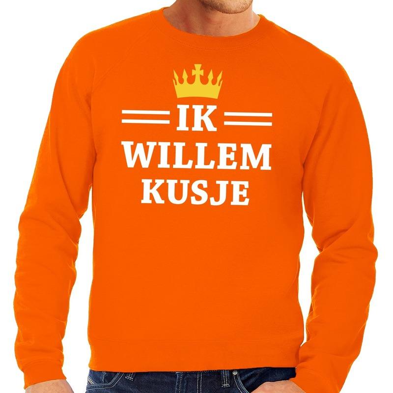 Oranje Ik Willem kusje sweater heren
