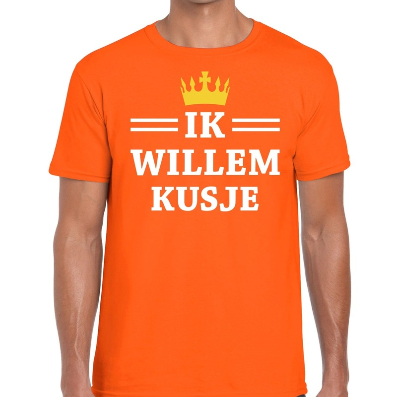 Oranje Ik Willem kusje t-shirt heren