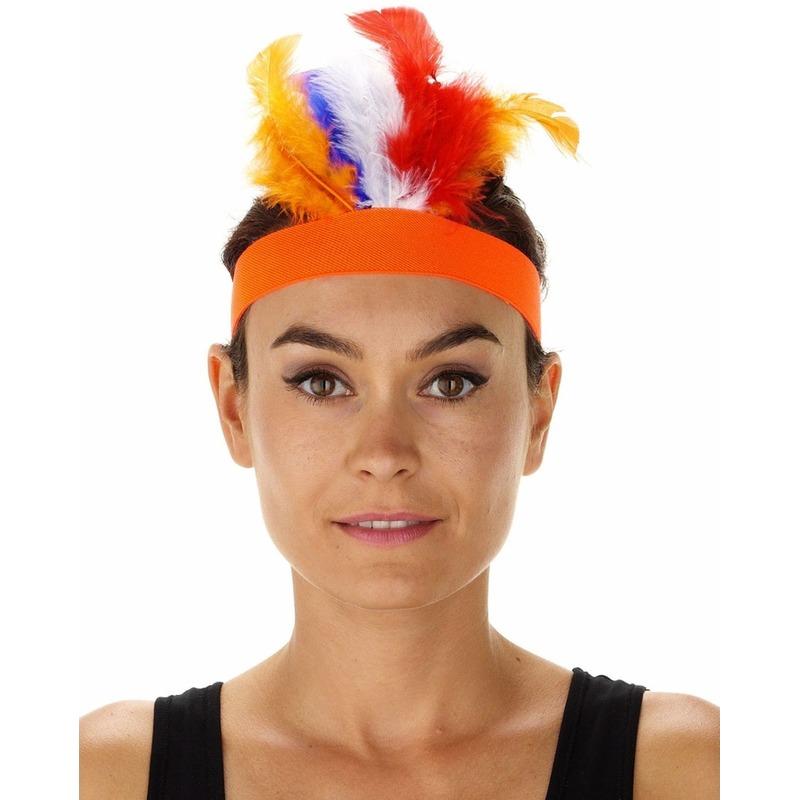 Oranje indianentooi verkleed hoofdband voor dames