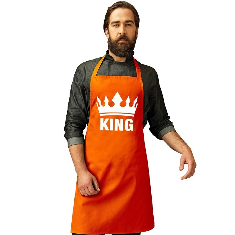 Oranje King bbq schort/ keukenschort met kroon heren -