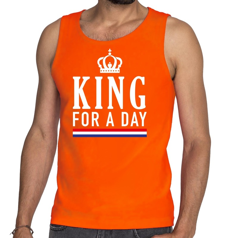 Oranje King for a day tanktop - mouwloos shirt voor he