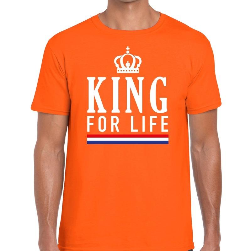 Oranje King for life t-shirt voor heren