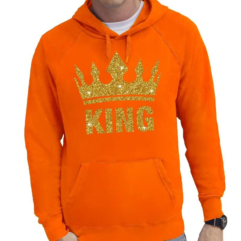 Oranje King gouden glitter kroon hoodie/hooded sweater heren