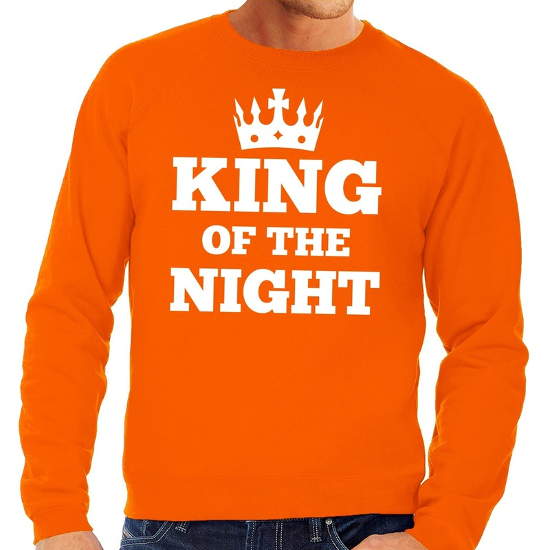 Oranje King of the night sweater heren