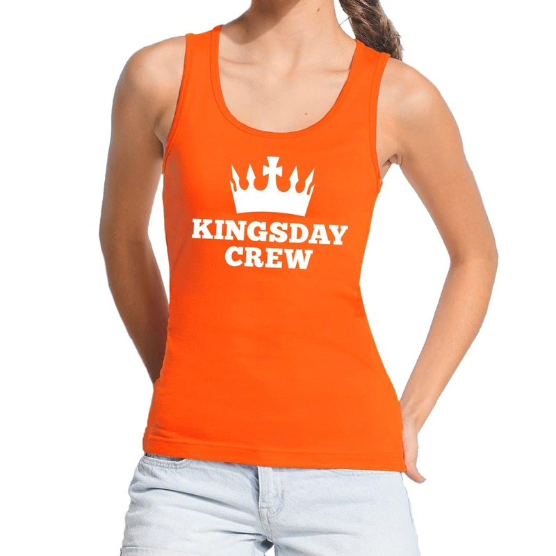 Oranje Kingsday crew tanktop - mouwloos shirt voor dames