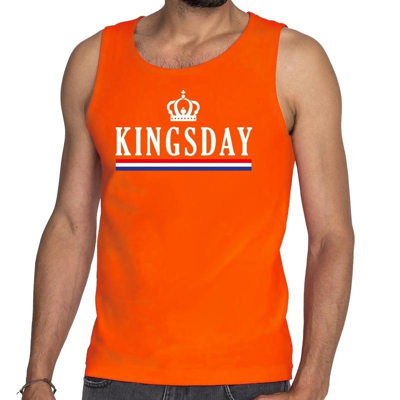 Oranje Kingsday met vlag tanktop - mouwloos shirt voor heren