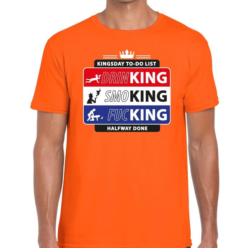 Oranje Kingsday to do list shirt voor heren