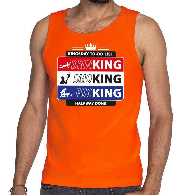 Oranje Kingsday to do list tanktop - mouwloos shirt voor heren