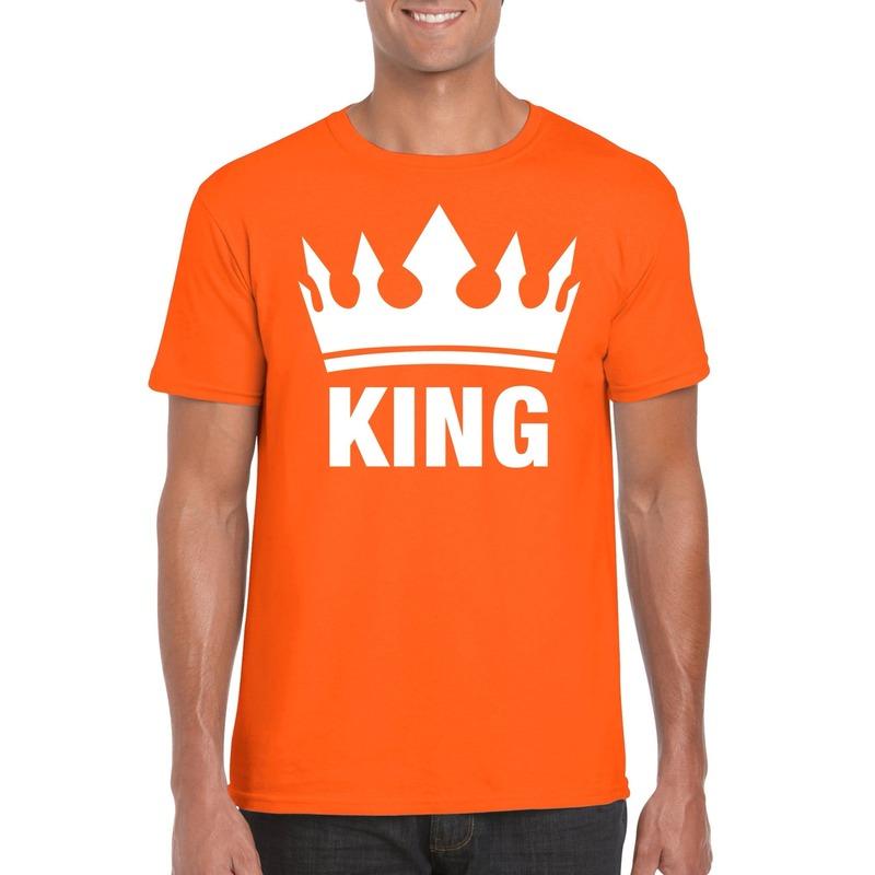 Oranje Koningsdag King shirt met kroon heren
