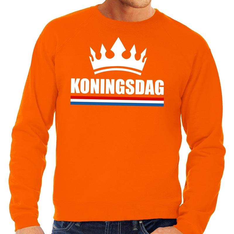 Oranje Koningsdag met een kroon sweater heren