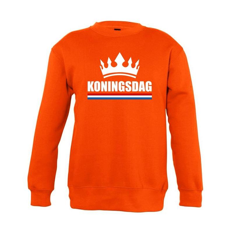 Oranje Koningsdag met kroon sweater kinderen