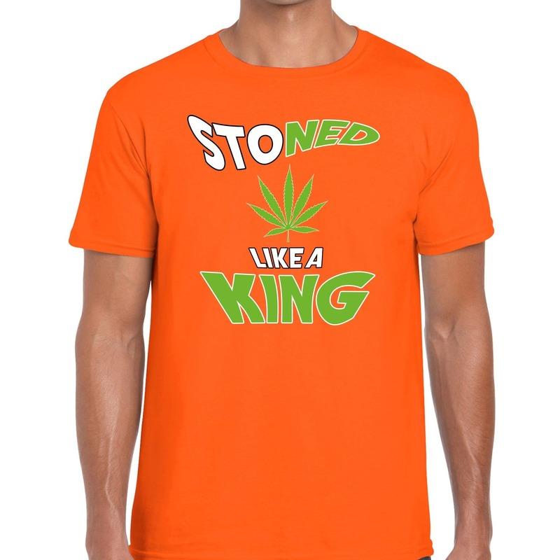 Oranje Koningsdag Stoned like a king t-shirt heren