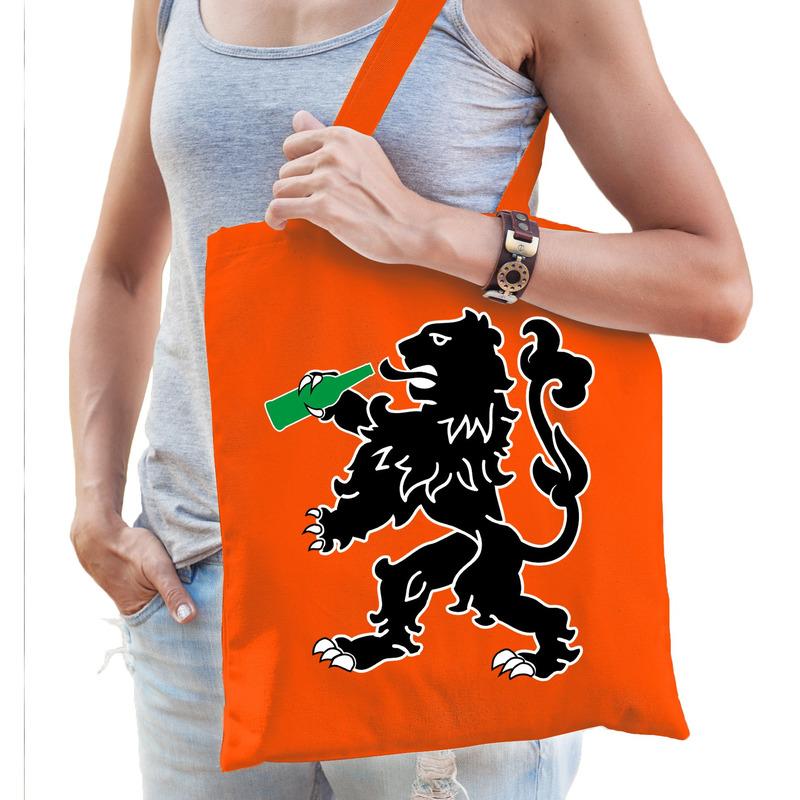 Oranje Koningsdag tasje met drinkende leeuw voor dames