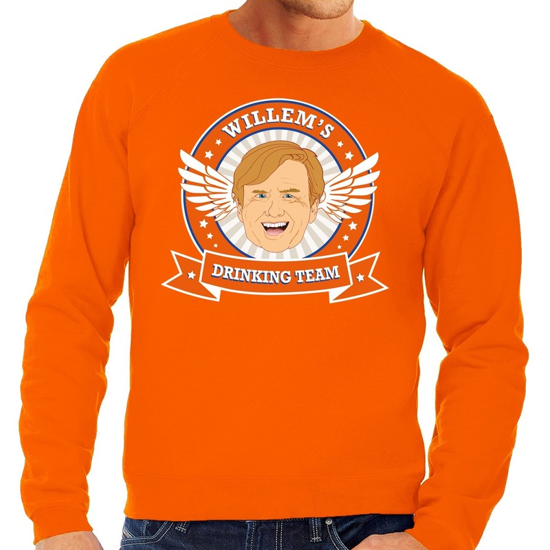Oranje Koningsdag Willem drinking team sweater heren