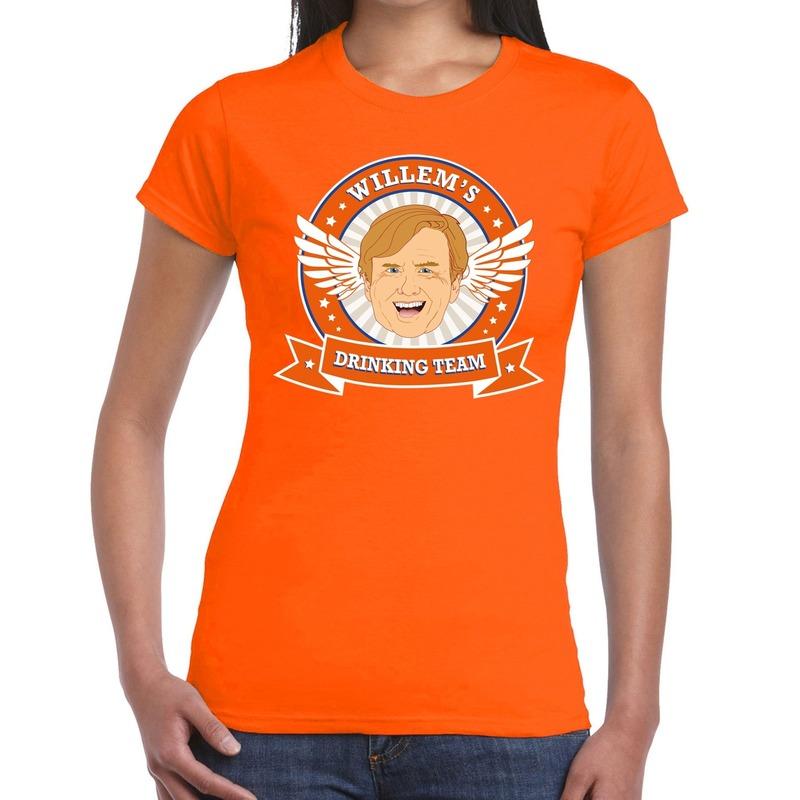 Oranje Koningsdag Willem drinking team t-shirt dames