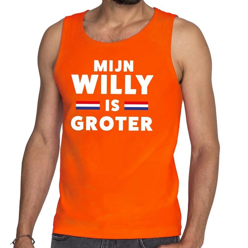 Oranje Mijn Willy is groter tanktop - mouwloos shirt voor heren