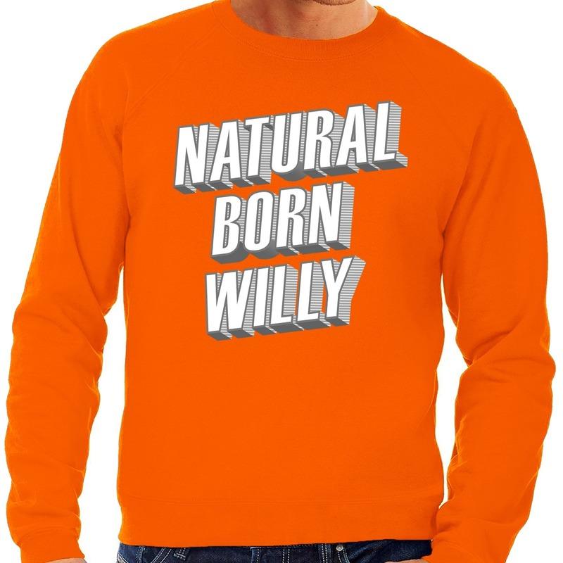 Oranje Natural born Willy sweater voor heren