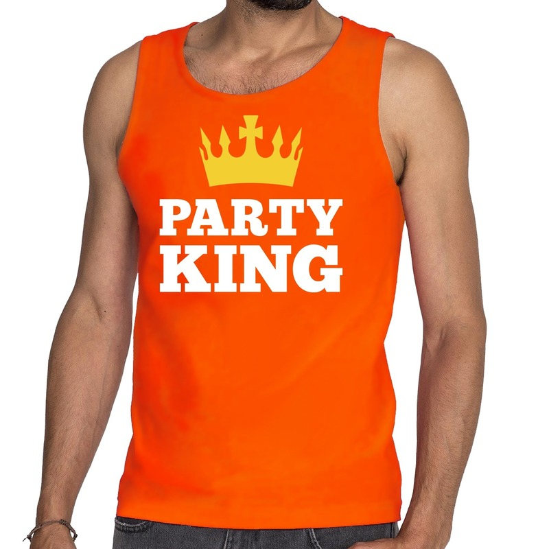Oranje Party King tanktop - mouwloos shirt voor he