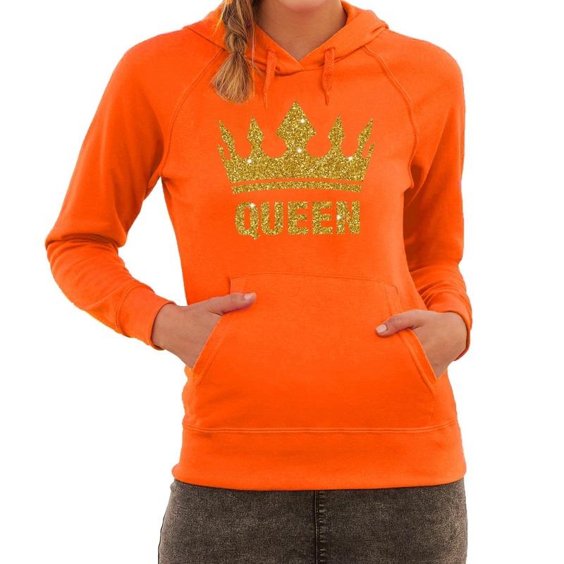 Oranje Queen gouden glitter kroon hoodie - hooded sweater dames