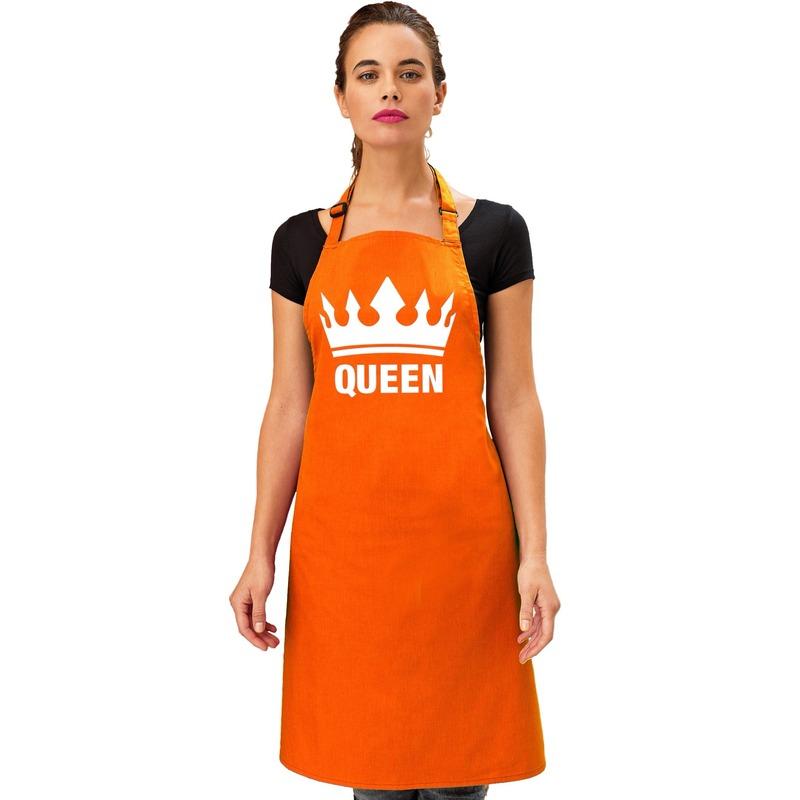 Oranje Queen keukenschort/ bbq schort met kroon dames -