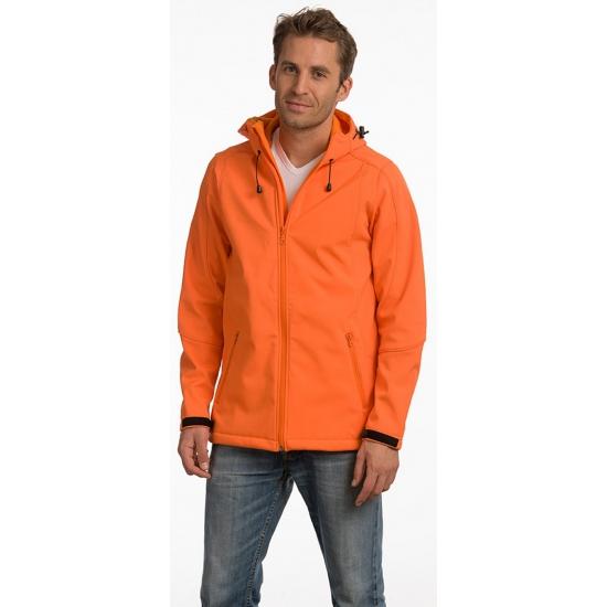 Oranje softshell herenjack met capuchon