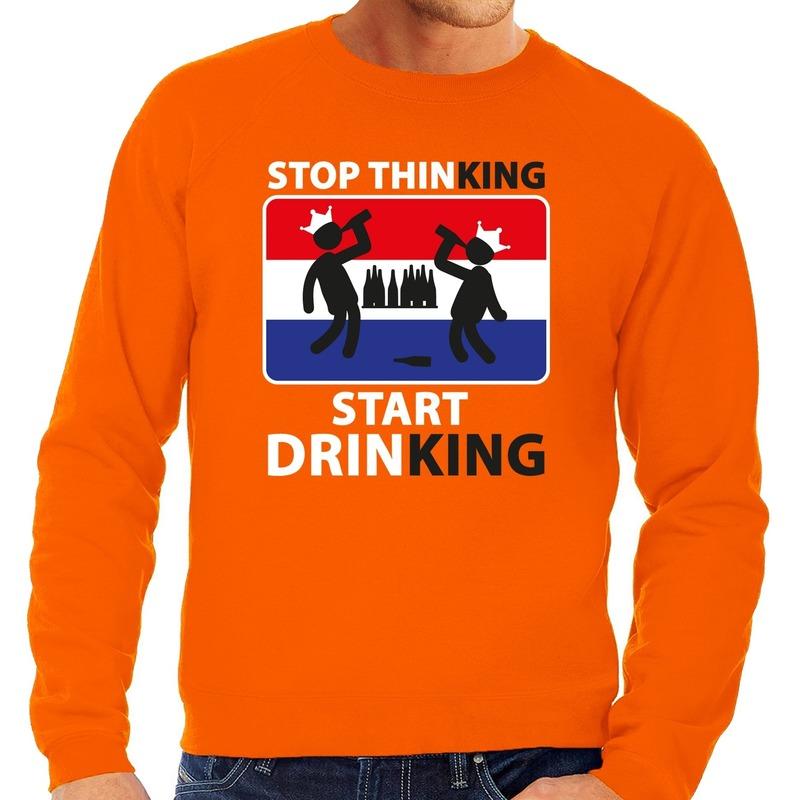 Oranje Stop thinking start drinking sweater heren