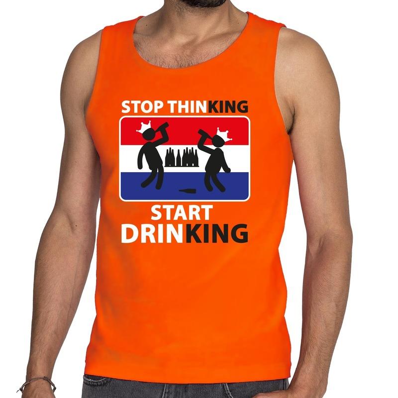 Oranje Stop thinking start drinking tanktop - mouwloos shirt her