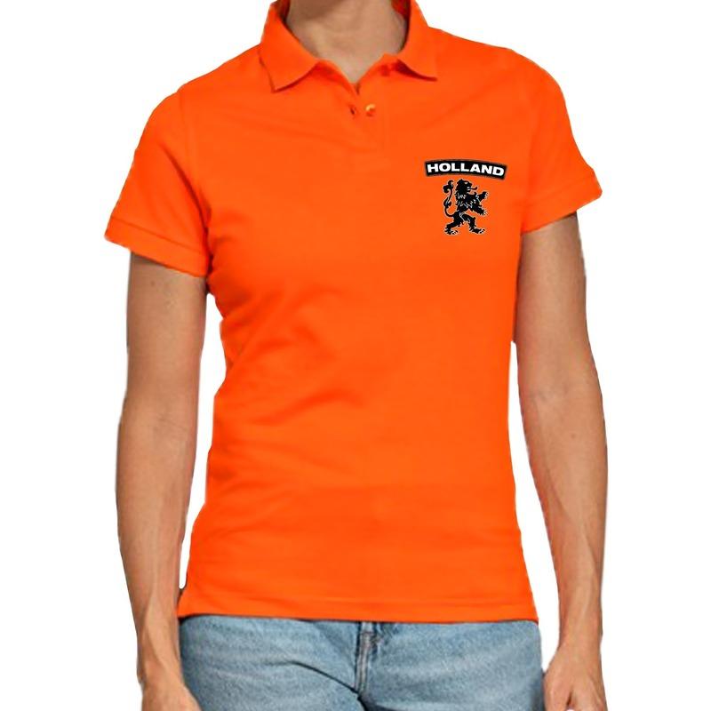 Oranje supporter poloshirt Holland met leeuw oranje voor dames