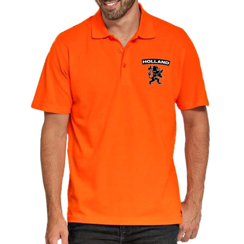 Oranje supporter poloshirt Holland met leeuw oranje voor heren