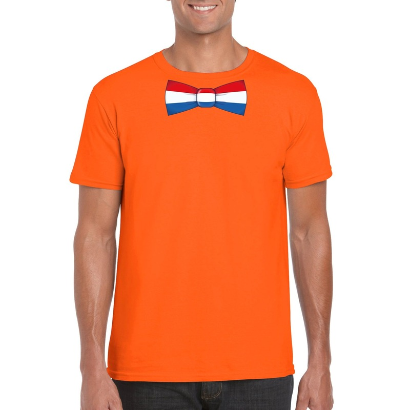 Oranje t-shirt met Nederland vlag strikje heren
