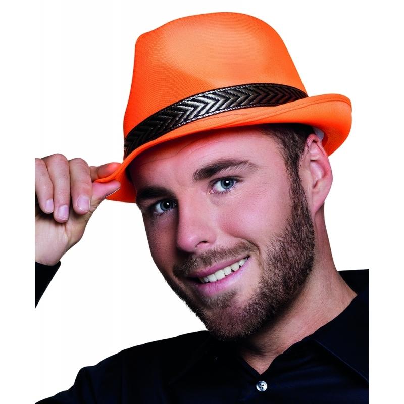 Oranje trilby hoed voor volwassenen
