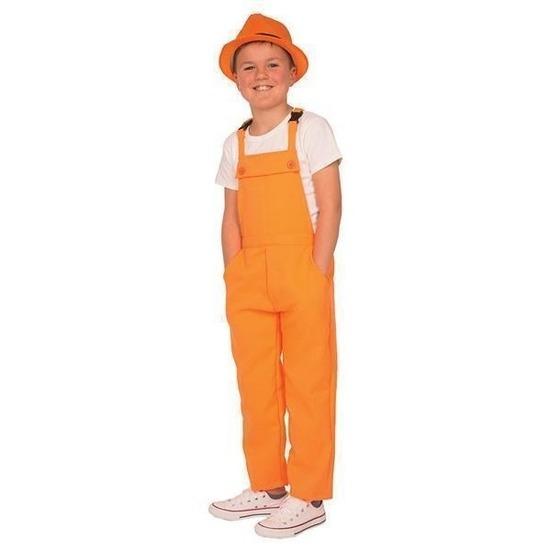 Oranje tuinbroek/overall voor kinderen