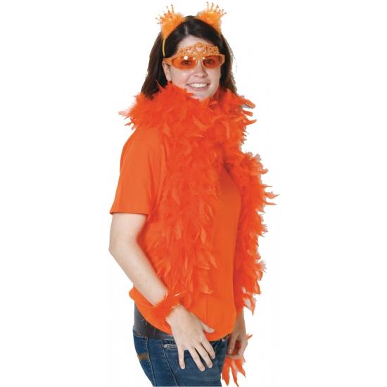 Oranje veren boa 180 cm