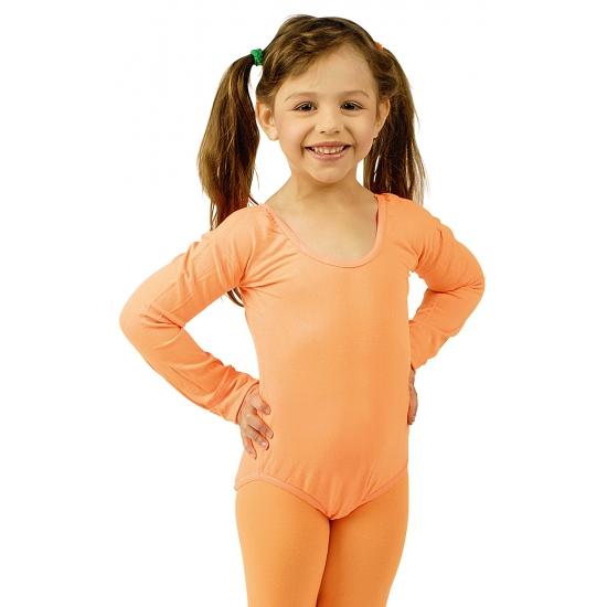 Oranje verkleed bodysuit lange mouwen voor meisjes