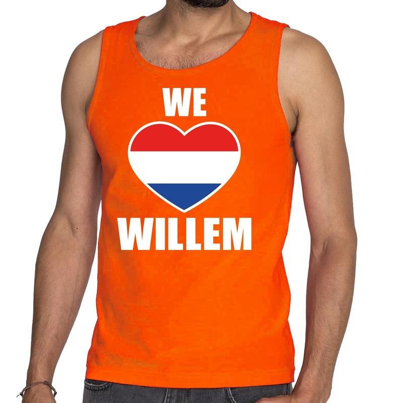 Oranje We Love Willem tanktop - mouwloos shirt voor heren