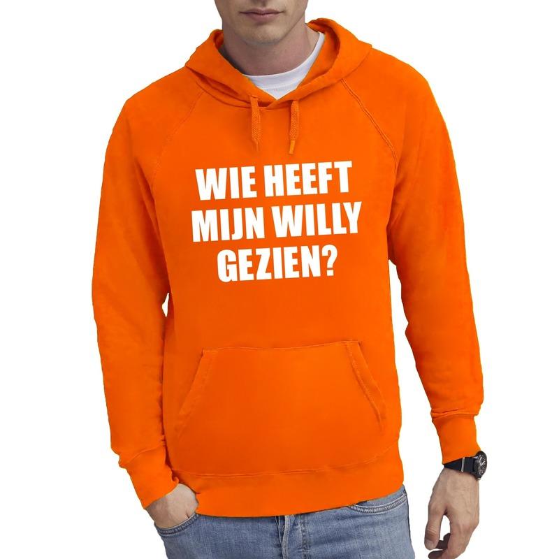 Oranje Wie heeft mijn Willy gezien hoodie heren