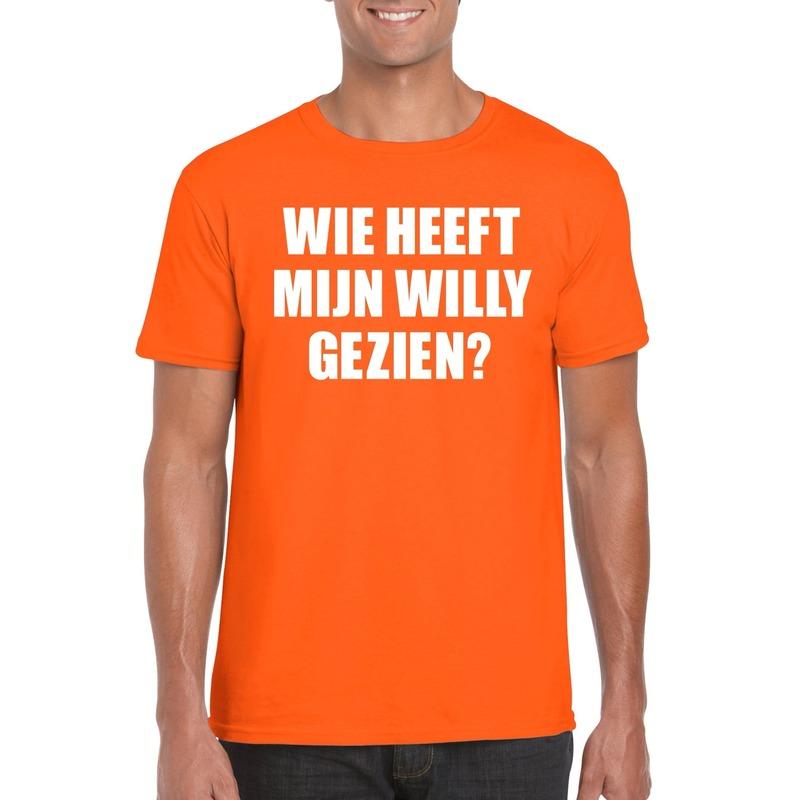 Oranje Wie heeft mijn Willy gezien shirt heren