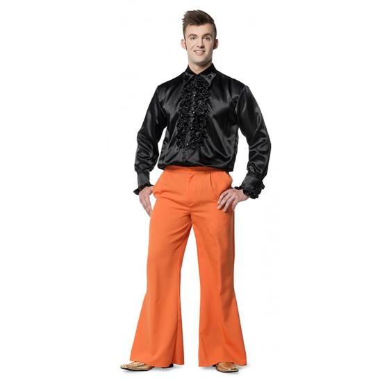 Oranje wijd uitlopende verkleedbroek voor heren