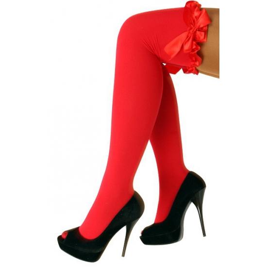 Overknee kousen rood met strik Rood