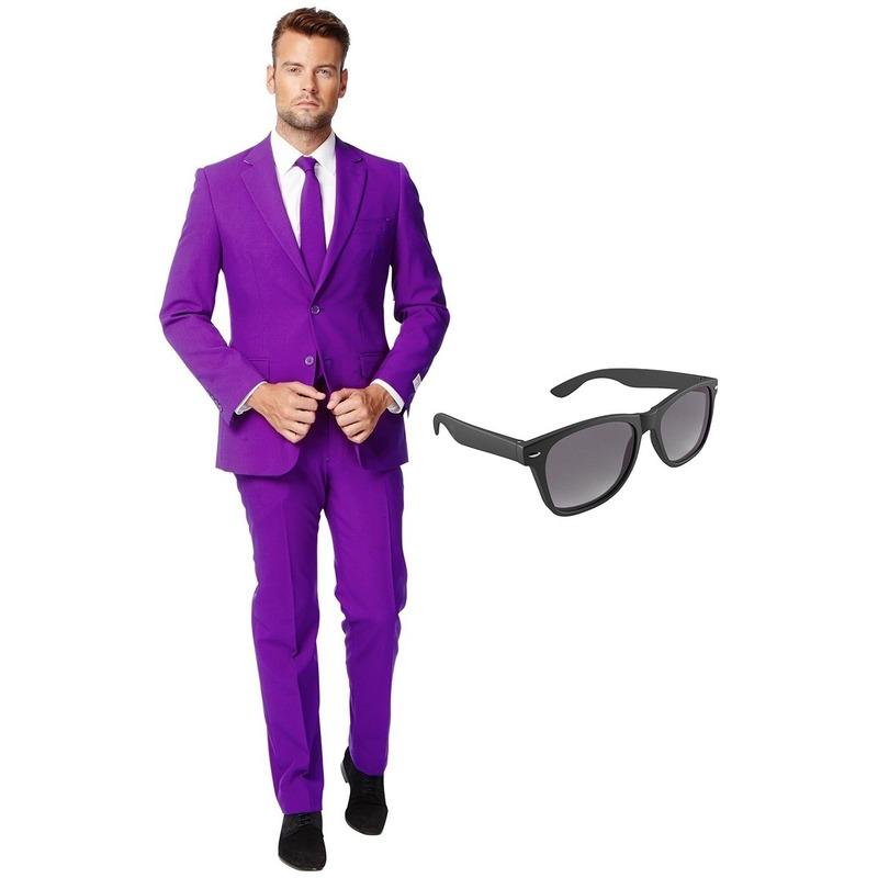 Paars heren kostuum maat 56 (XXXL) met gratis zonnebril