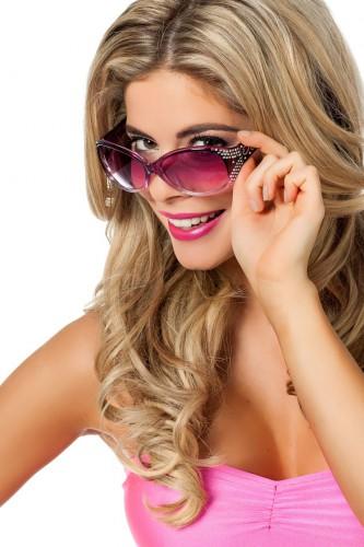 Paarse feestbril met glitters