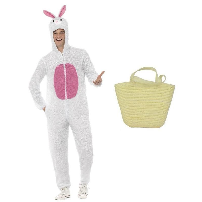Paashaas kostuum wit maat L met paasmandje voor volwassenen