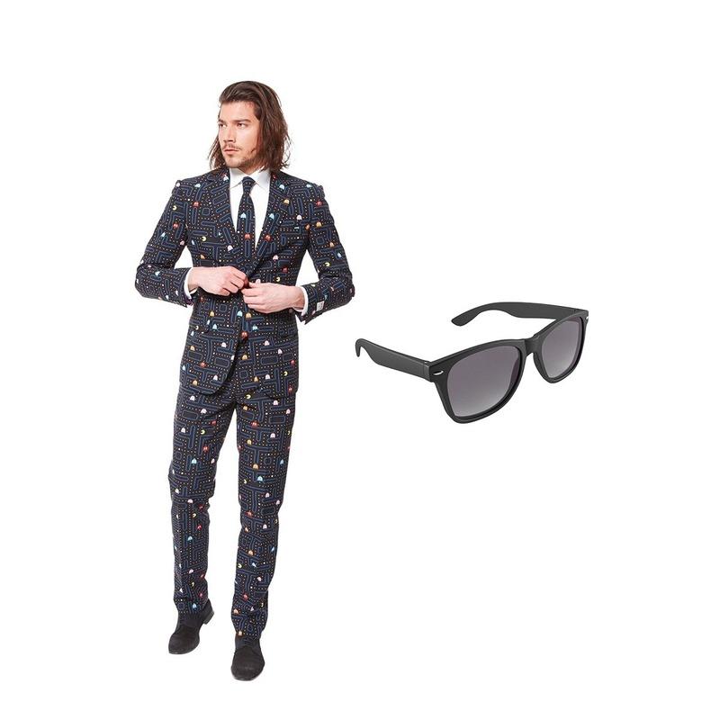 Pac-Man print heren kostuum maat 52 (XL) met gratis zonnebril