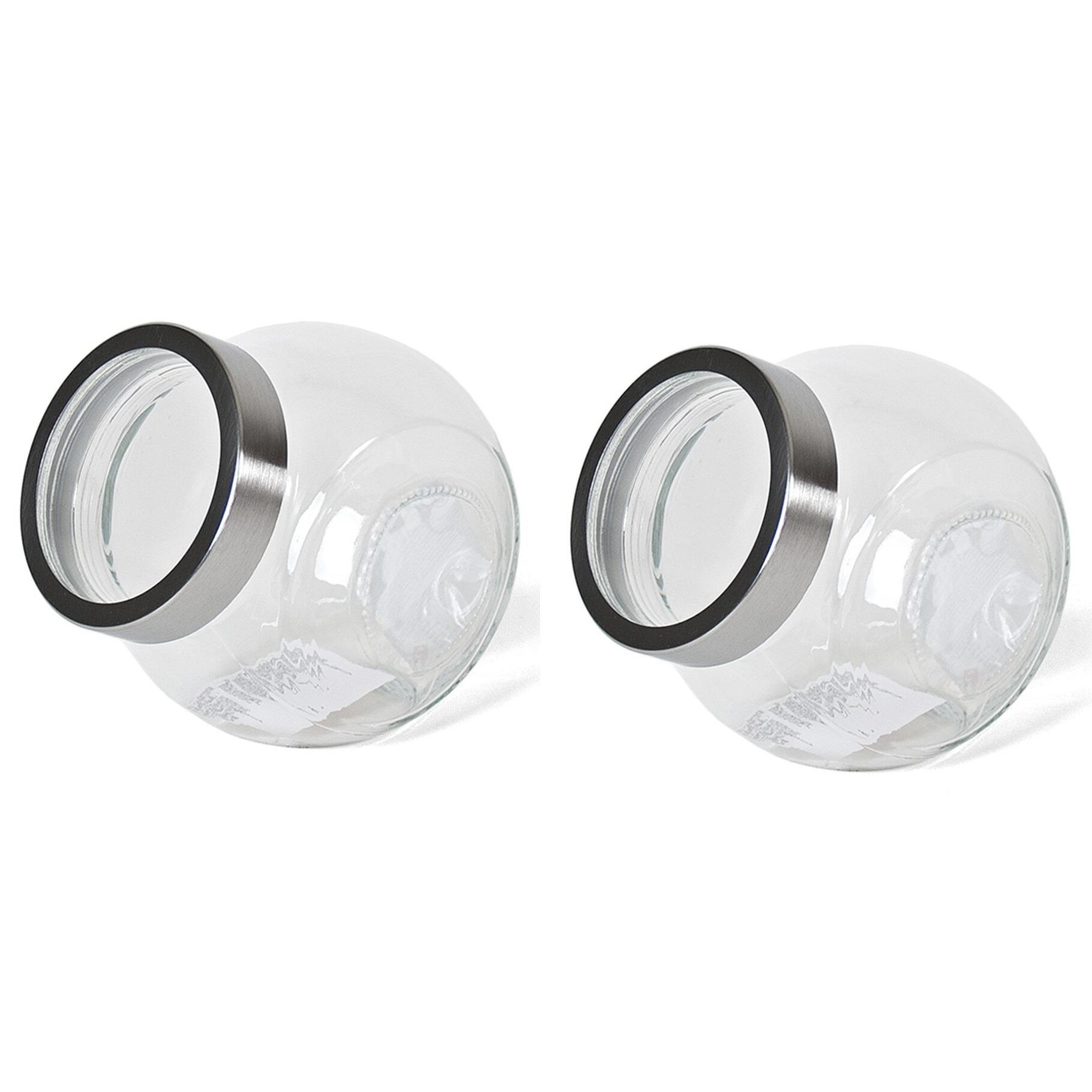 Pakket van 8x stuks transparante snoeppotten/voorraadpotten van glas 2200 ml